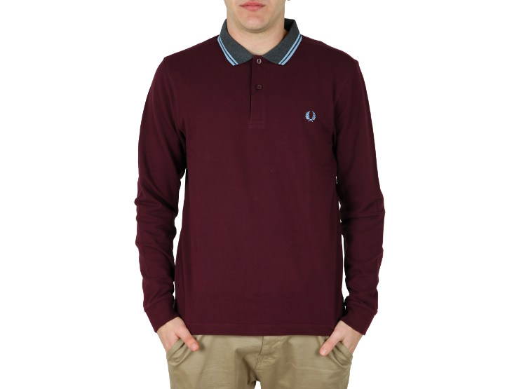 Polo manica lunga, due bottoni Fred Perry in piqué di cotone con colletto in maglia colorato in contrasto, bordo twin tipped monocolore e alloro in tono