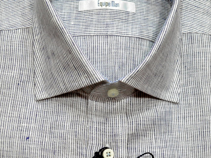 Camicia manica lunga Equipe Man in puro lino con taschino, motivo a righe, con  tessuto colorato in contrasto applicato all'interno di collo, finta e polsi