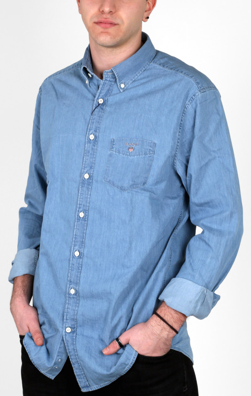 23f3c912c572 Camicia regular fit, manica lunga e button-down Gant in tela jeans leggera.
