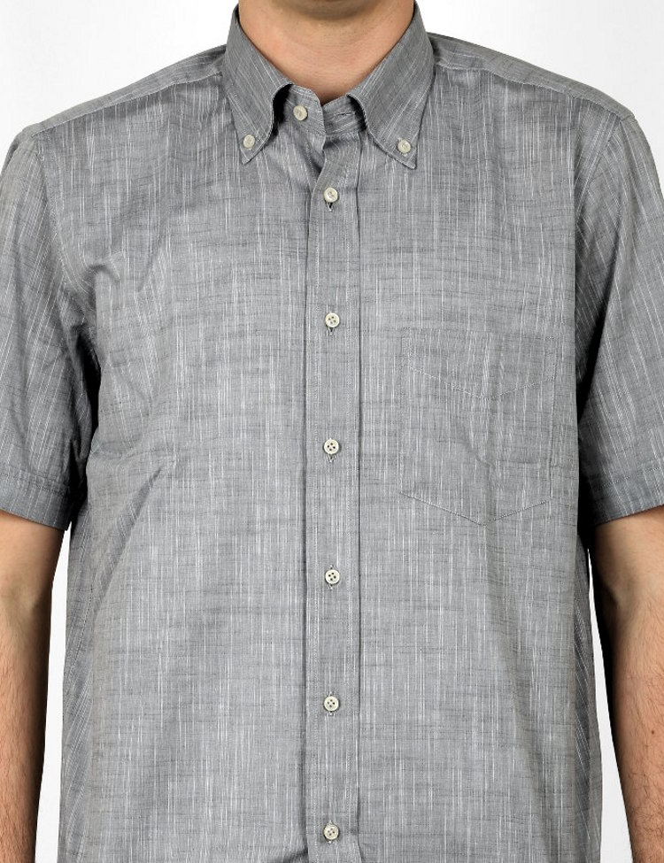 Camicia manica corta, button-down Webb & Scott in cotone Chambray