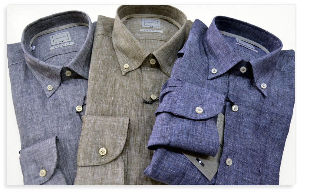 Camicie regular fit, manica lunga e button-down Webb & Scott in puro lino con taschino