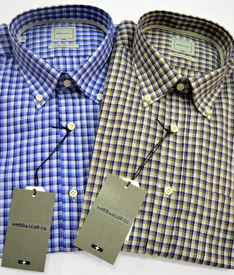 Camicie regular fit, manica corta e button-down Webb & Scott in puro cotone con fantasia a quadretti. Con taschino