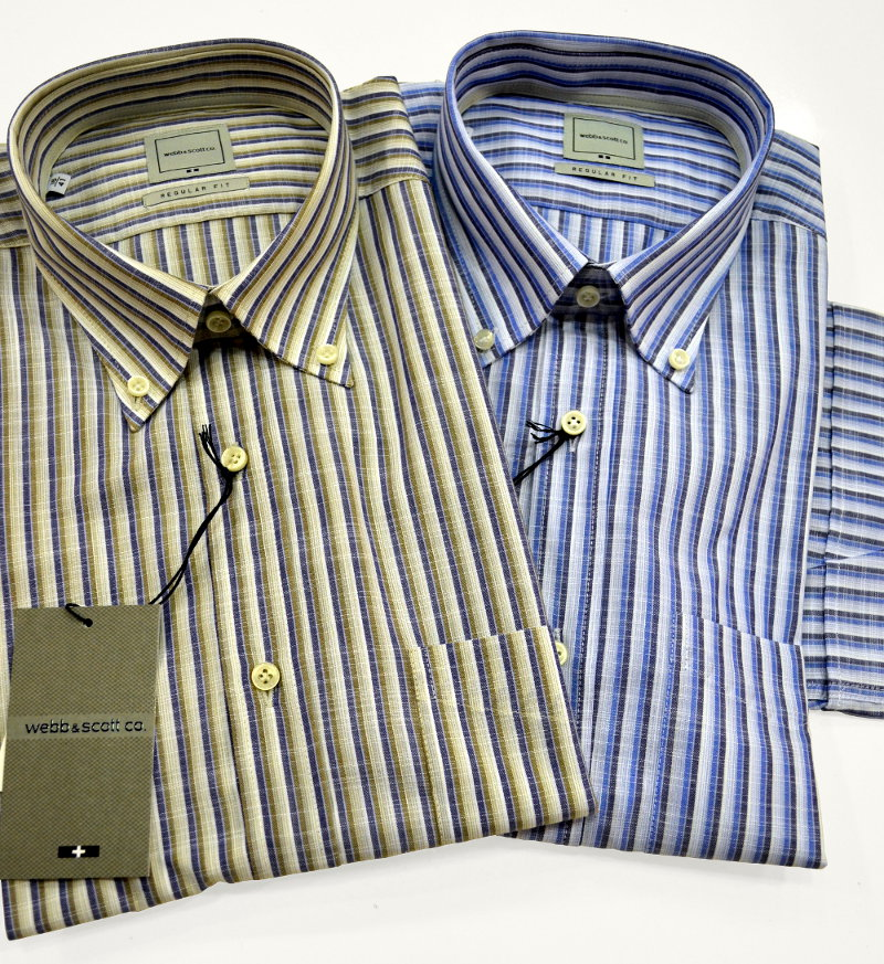 Camicie regular fit, manica corta e button-down Webb & Scott in leggerissimo cotone fiammato con motivo a righe. Finite con orlo arrotondato e taschino